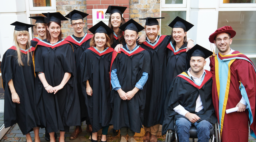 Nordoff Robbins Master of Music Therapy Graduates 2018 in gowns