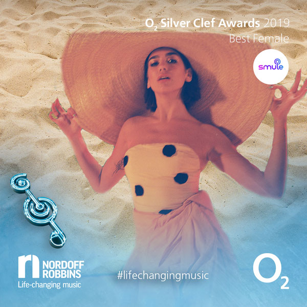 Dua Lipa promotional shot for O2 Silver Clef Awards 2019