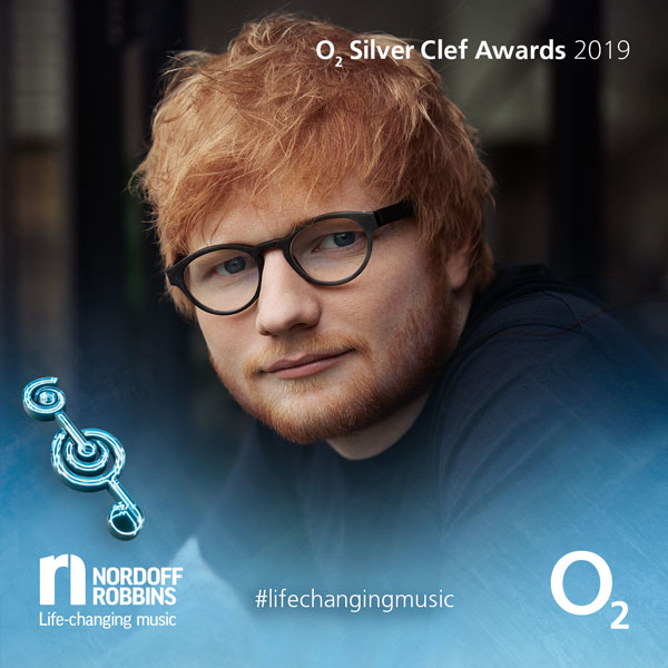 Ed Sheeran promotional shot for O2 Silver Clef Awards 2019