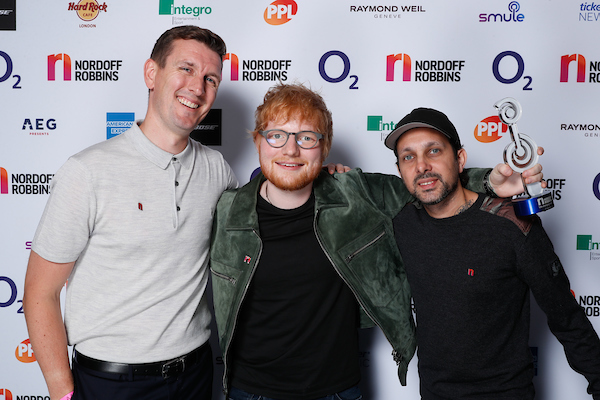 Ed Sheeran with O2 Silver Clef Award