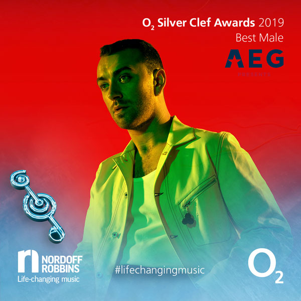 Sam Smith promotional shot for O2 Silver Clef Awards 2019