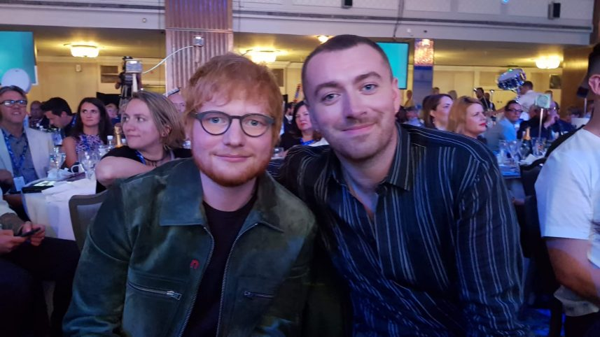 Ed Sheeran and Sam Smith at the O2 Silver Clef Awards