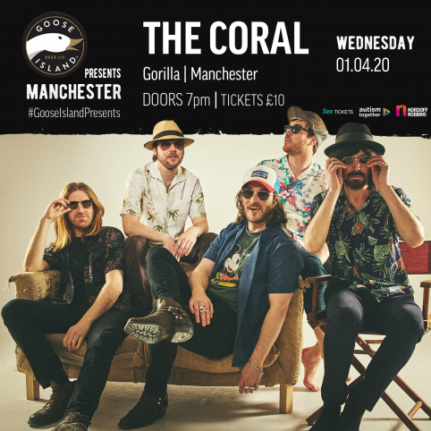 A photo of the band The Coral wearing sunglasses and sat down