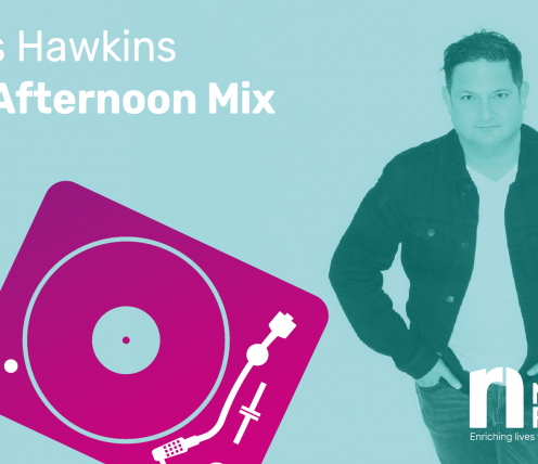 A photo of Chris Hawkins standing with a light blue overlay next to a graphic of a record player
