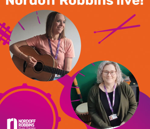 Music therapist Lou Gregg is sat down playing an acoustic guitar and music therapist Emily Grimes is sat at an electric keyboard