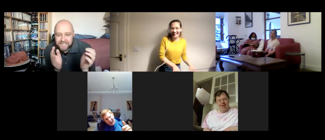 A screenshot of the Zoom online adult afternoon group of five people on the call