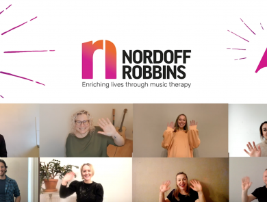 The top half of the image is a white background with a purple drum illustration, the Nordoff Robbins logo and a purple trumpet illustration. The bottom is a split screen of 8 music therapists waving