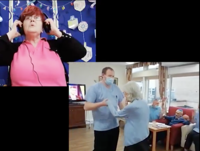 Screenshot from the video Heathlands Village Presents: 8 Days of Chanukah