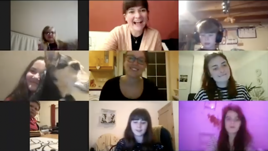 A screenshot of the young carers and Jo taken from their video
